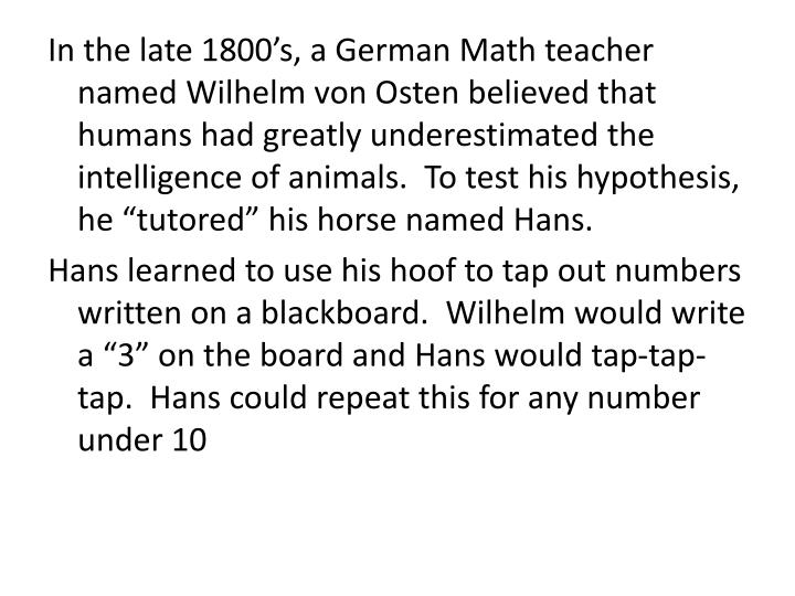 "In the late 1800's, a German Math teacher named Wilhelm von Osten believed that humans had greatly underestimated the intelligence of animals.  To test his hypothesis, he ""tutored"" his horse named Hans."