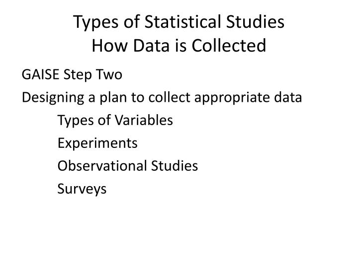 Types of Statistical Studies