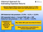 historical approach for estimating expected returns1