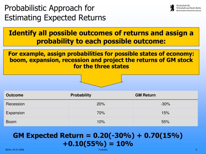 For example, assign probabilities for possible states of economy: boom, expansion, recession and project the returns of GM stock for the three states