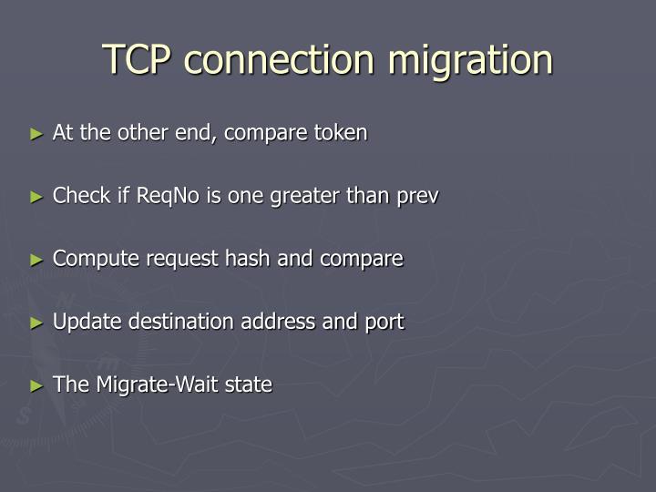 TCP connection migration
