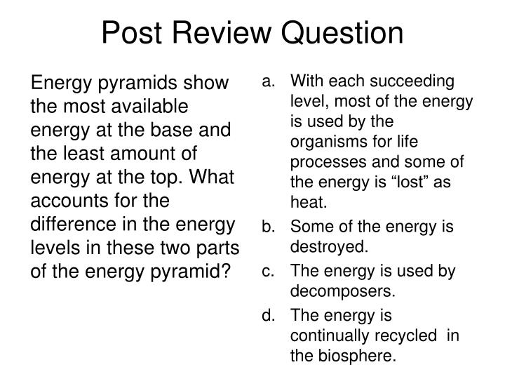 Post Review Question