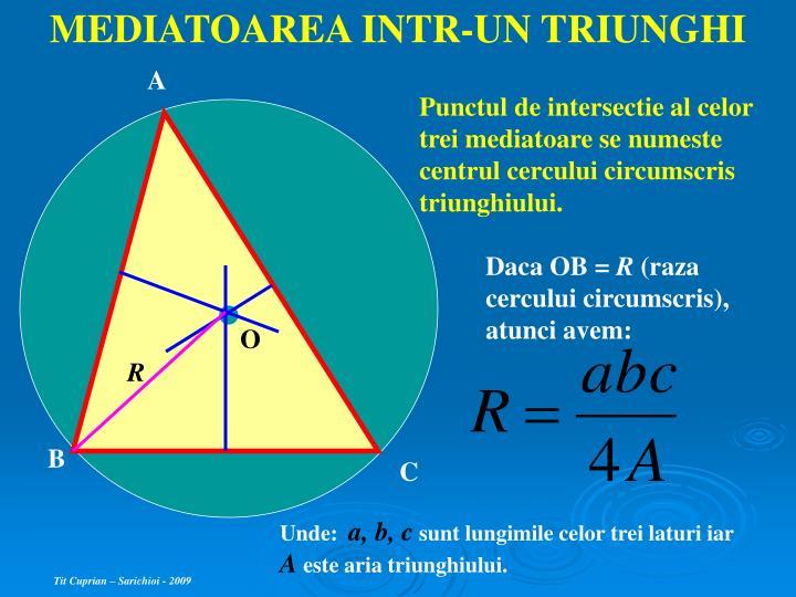MEDIATOAREA INTR-UN TRIUNGHI