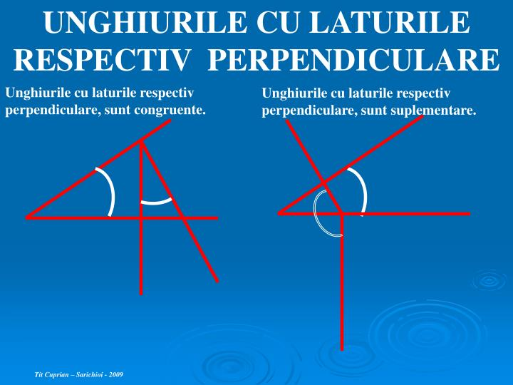 UNGHIURILE CU LATURILE RESPECTIV  PERPENDICULARE