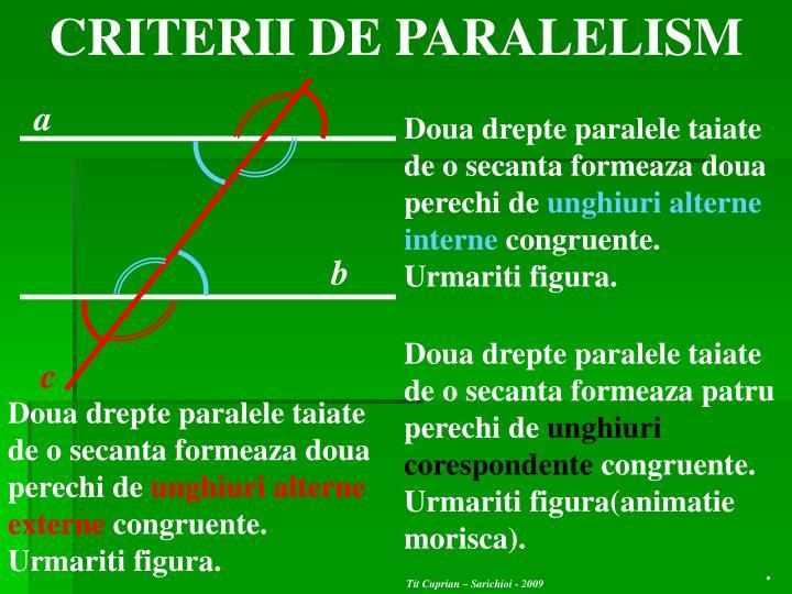 CRITERII DE PARALELISM