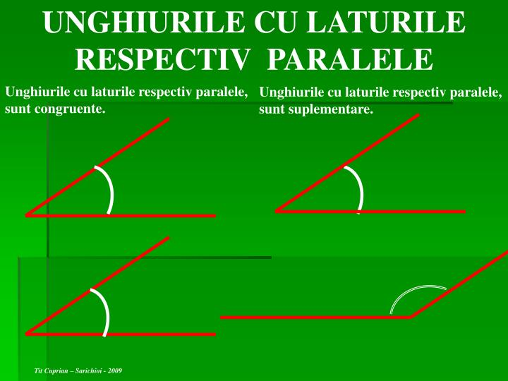 UNGHIURILE CU LATURILE RESPECTIV  PARALELE