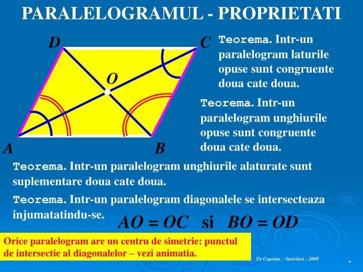 PARALELOGRAMUL - PROPRIETATI