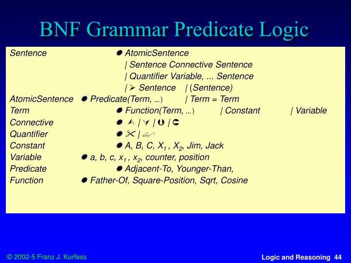 BNF Grammar Predicate Logic