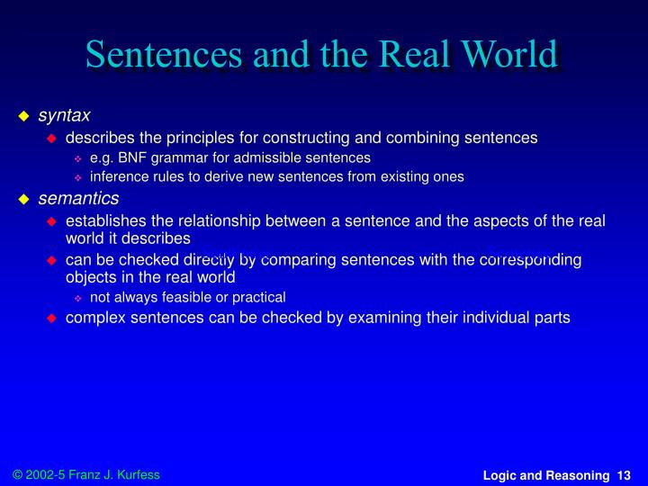 Sentences and the Real World