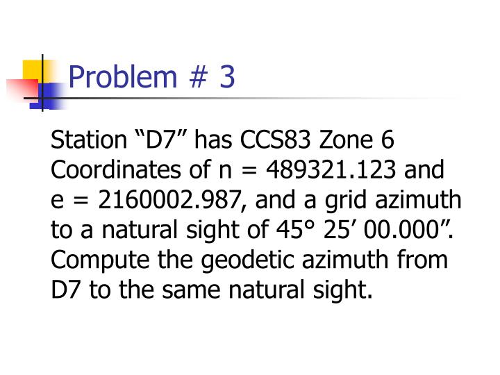 Problem # 3