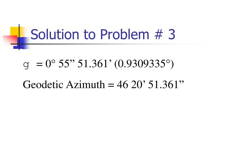 Solution to Problem # 3