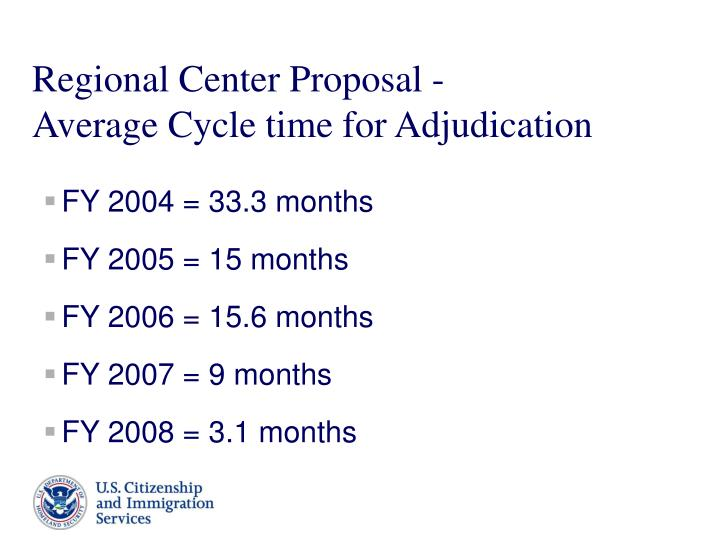 Regional center proposal average cycle time for adjudication
