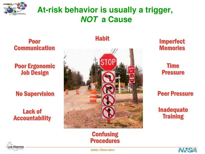 At-risk behavior is usually a trigger,