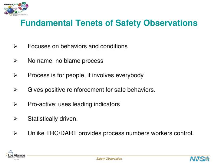 Fundamental Tenets of Safety Observations