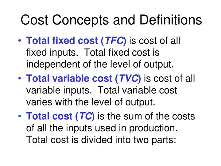 Cost Concepts and Definitions
