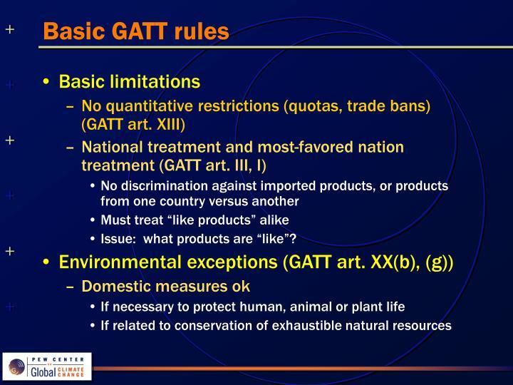 Basic GATT rules