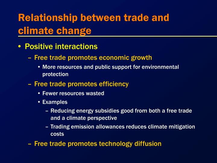Relationship between trade and climate change