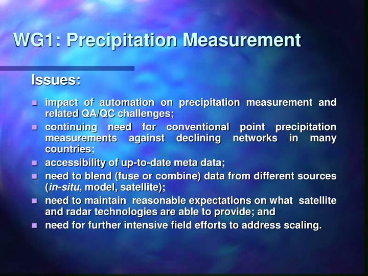 WG1: Precipitation Measurement