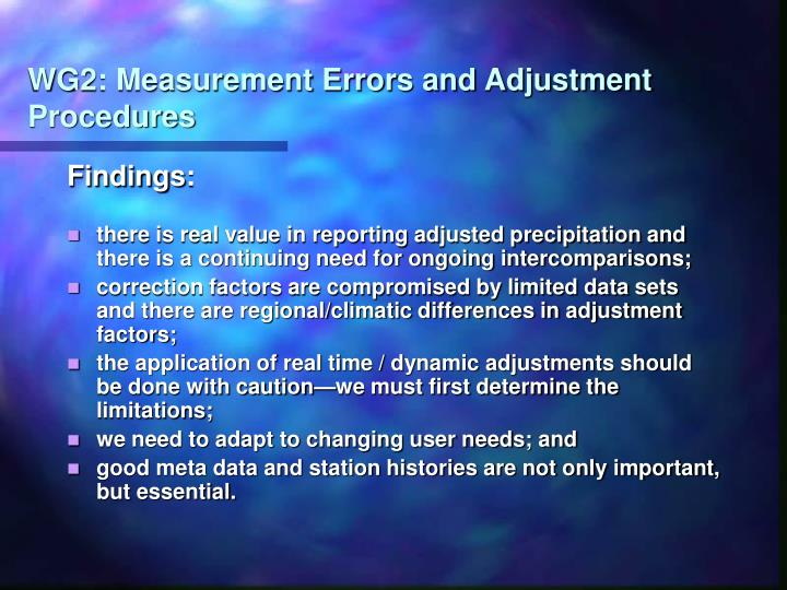 WG2: Measurement Errors and Adjustment Procedures