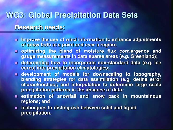 WG3: Global Precipitation Data Sets