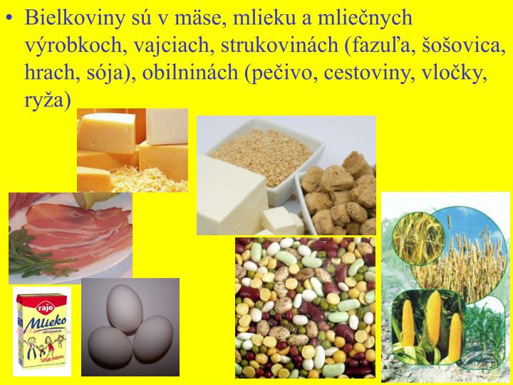Bielkoviny s v mse, mlieku a mlienych vrobkoch, vajciach, strukovinch (fazua, oovica, hrach, sja), obilninch (peivo, cestoviny, vloky, rya)