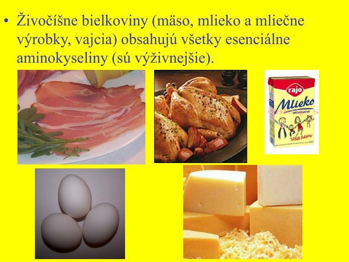 ivone bielkoviny (mso, mlieko a mliene vrobky, vajcia) obsahuj vetky esencilne aminokyseliny (s vivnejie).