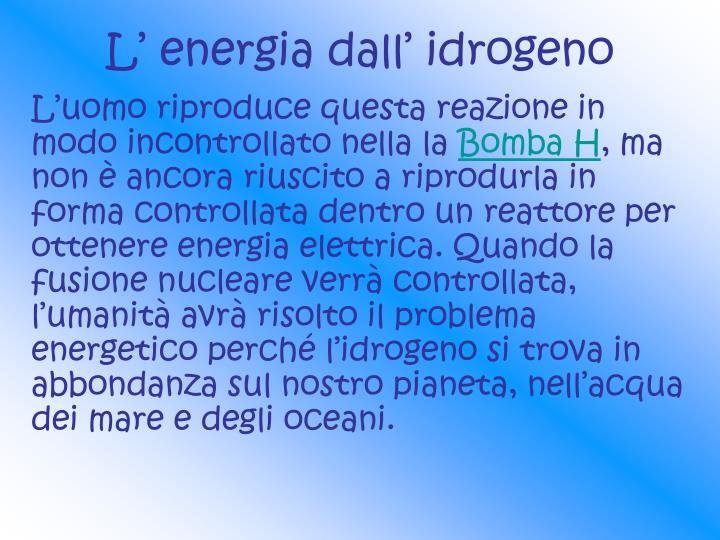 L' energia dall' idrogeno