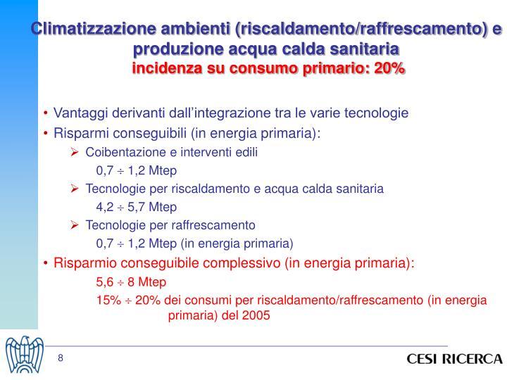 Climatizzazione ambienti (riscaldamento/raffrescamento) e produzione acqua calda sanitaria