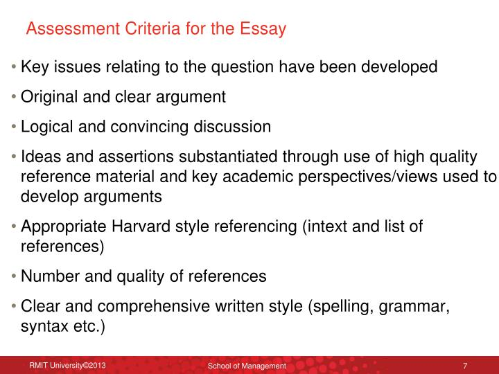 Assessment Criteria for the Essay