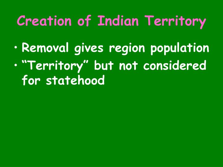 Creation of Indian Territory