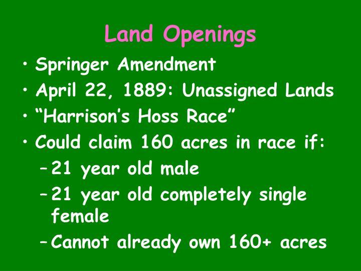 Land Openings