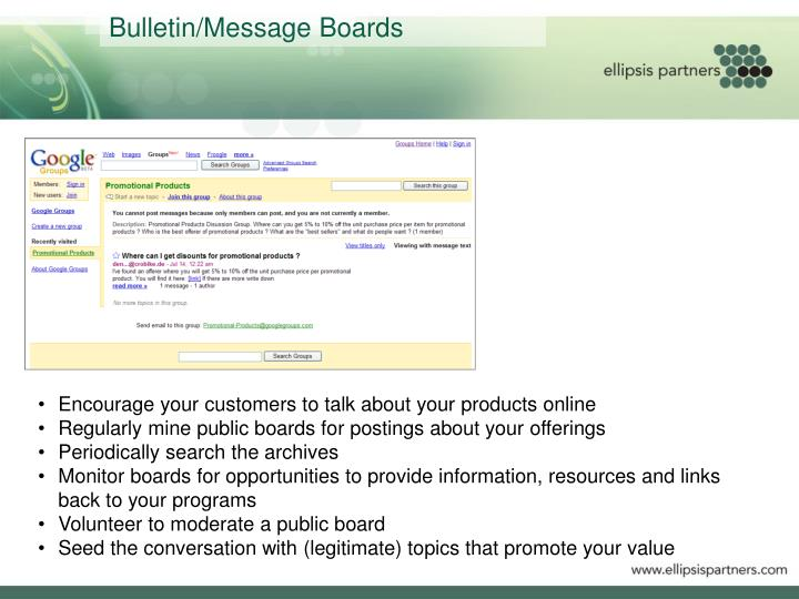 Bulletin/Message Boards