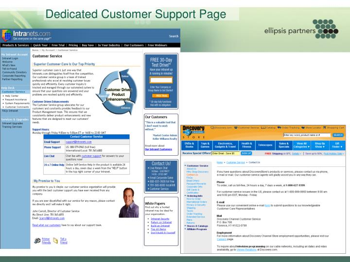 Dedicated Customer Support Page