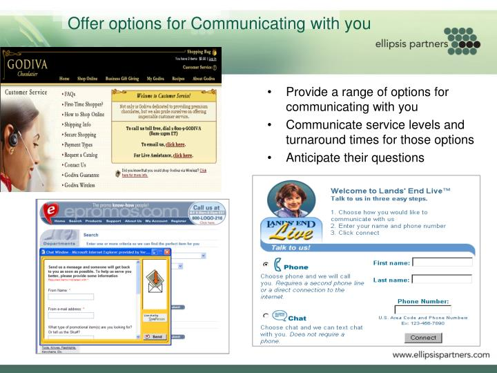 Offer options for Communicating with you