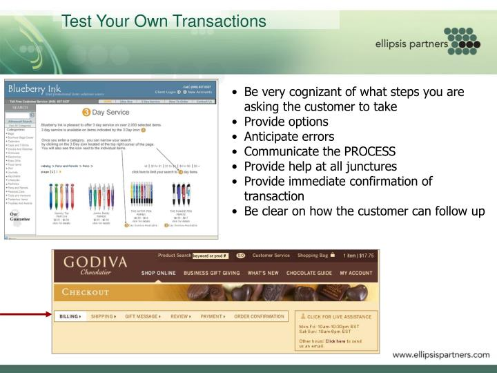 Test Your Own Transactions