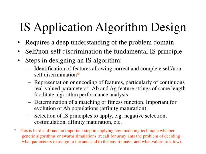 IS Application Algorithm Design