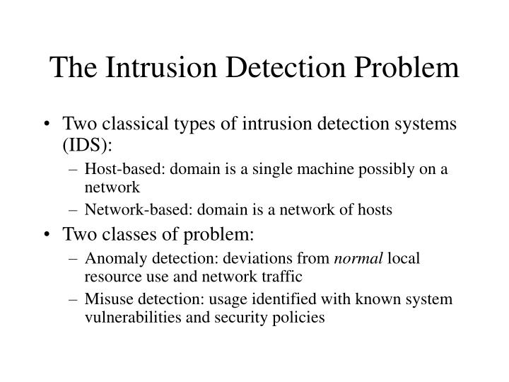 The Intrusion Detection Problem