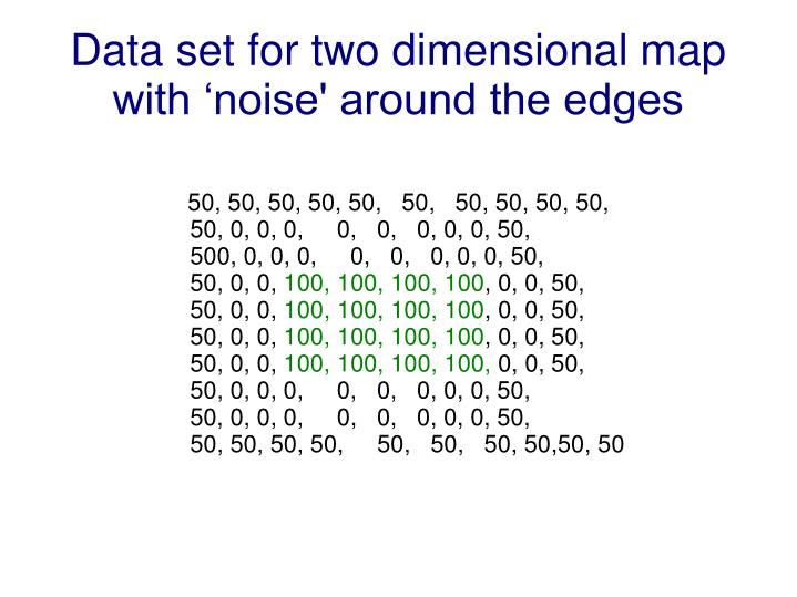Data set for two dimensional map with 'noise' around the edges