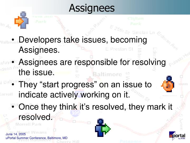 Developers take issues, becoming Assignees.