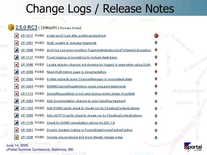 Change Logs / Release Notes