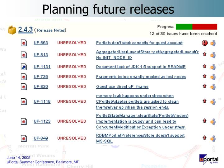 Planning future releases