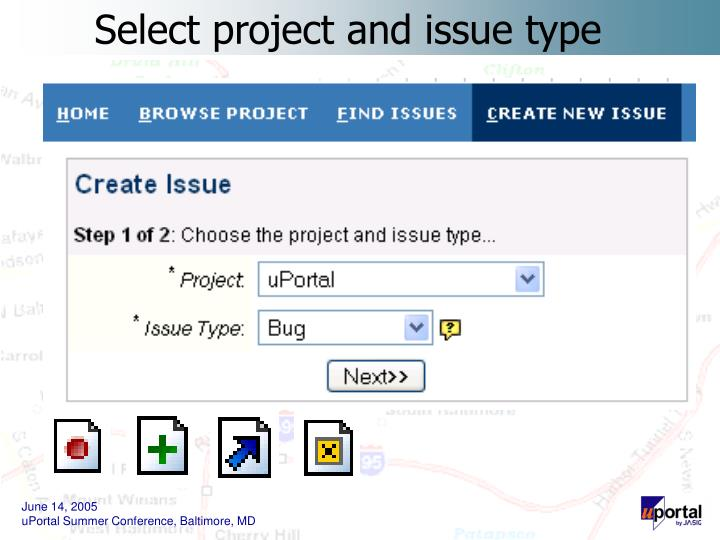 Select project and issue type