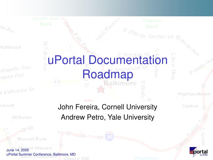Uportal documentation roadmap