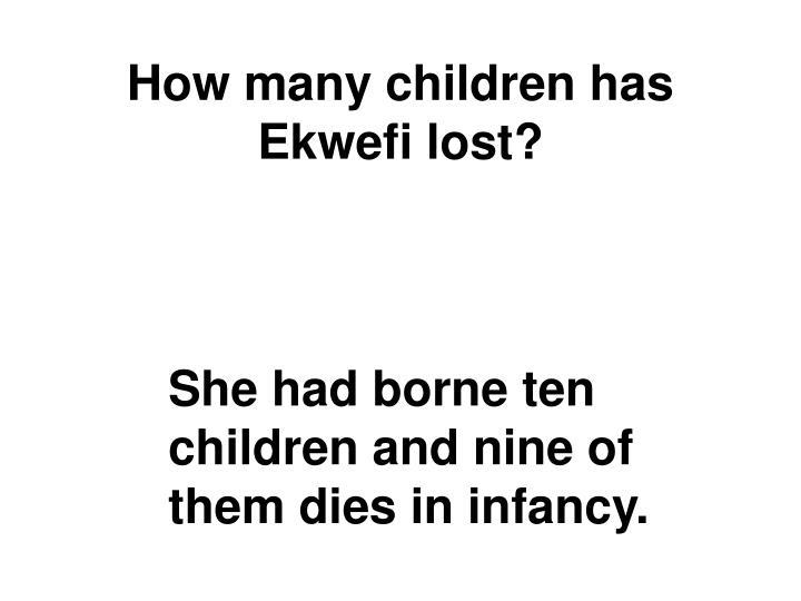 How many children has Ekwefi lost?