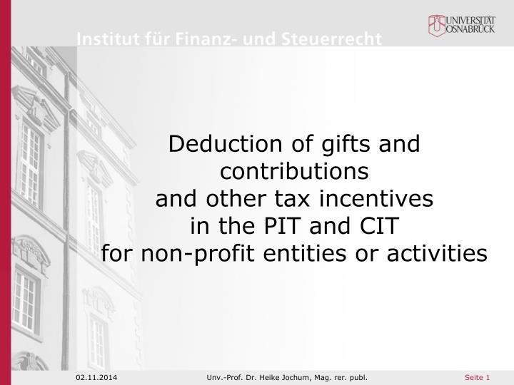 Deduction of gifts and contributions