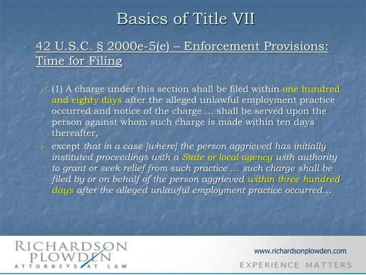 Basics of Title VII