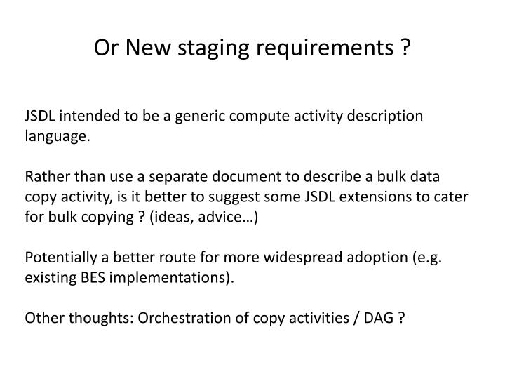 Or New staging requirements ?