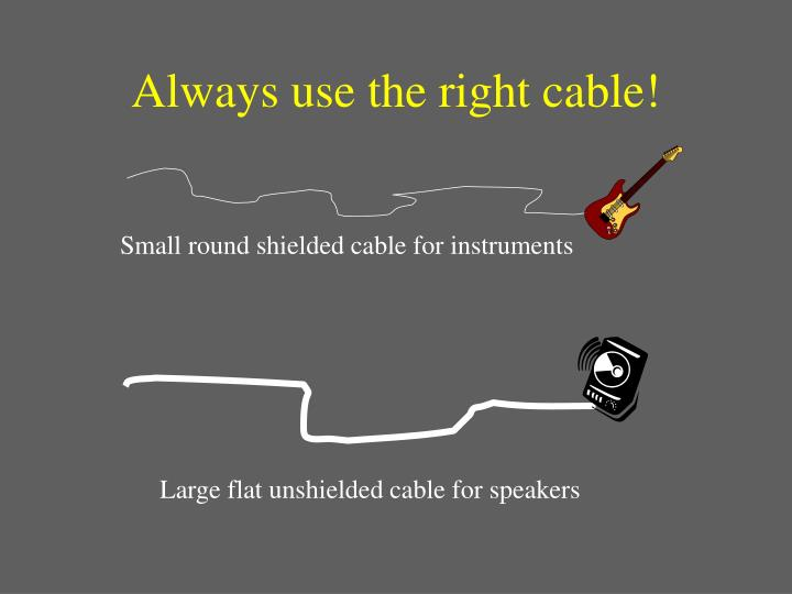 Always use the right cable!