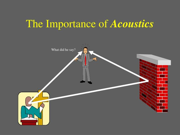 The importance of acoustics