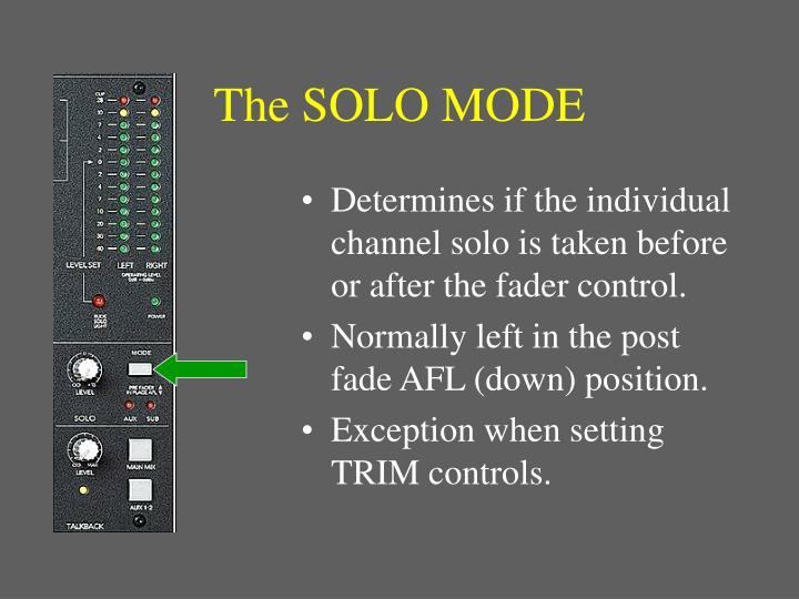 The SOLO MODE